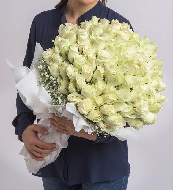 Sonsuz Sevgi 100 Beyaz Gül